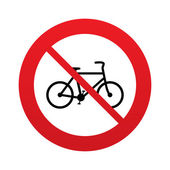 No Bicycle sign icon. Eco delivery. — Vector de stock
