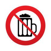 Vaso de icono de signo de cerveza. ningún símbolo de beber alcohol. — Vector de stock