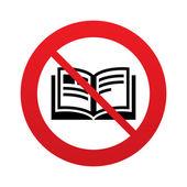 No Book sign icon. Open book symbol. — Stock Vector