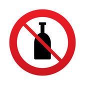 Ningún icono de signo de alcohol. símbolo de la bebida. botella. — Vector de stock