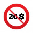 No 20 Dollars sign icon. USD currency symbol. — Stock Vector