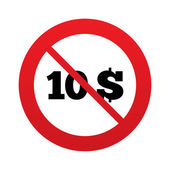 No 10 Dollars sign icon. USD currency symbol. — Stock Vector