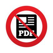 No PDF file document icon. Download pdf button. — Stock Vector