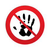 No Hand print sign icon. Stop symbol. — Stock Vector