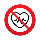 No Heartbeat sign icon. Cardiogram symbol. — Stock Vector