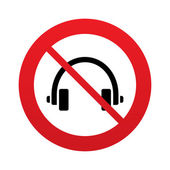 Don`t use Headphones sign icon. Earphones button. — 图库矢量图片