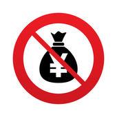 Ningún icono de señal bolsa de dinero. moneda yen jpy. — Vector de stock