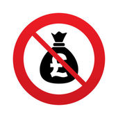 No Money bag sign icon. Pound GBP currency. — Stock Vector
