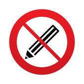 No Pencil sign icon. Edit content button. — Stock Vector