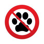 No Dog paw sign icon. Pets symbol. — Stock Vector
