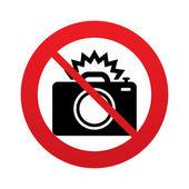 No Photo camera sign icon. Photo flash symbol. — Stock Vector