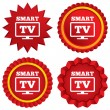 Stock Vector: Widescreen Smart TV sign icon. Television set.