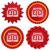Cookbook sign icon. 25 Recipes book symbol. — Stock Vector