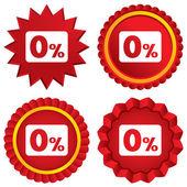 Zero percent sign icon. Zero credit symbol. — Stock Vector