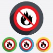 No Fire flame sign icon. Fire symbol. — Stock Photo