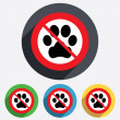 Dog paw sign icon. No Pets symbol. — Stock Photo