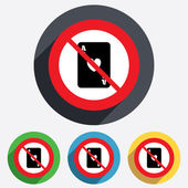 No Casino sign icon. Playing card symbol — Stok fotoğraf