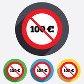 No 100 Euro sign icon. EUR currency symbol. — Stock Photo
