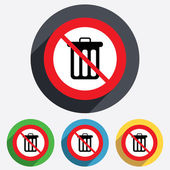 No Recycle bin sign icon. Bin symbol. — Stock Photo