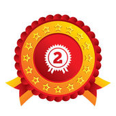Second place award sign icon. Prize for winner. — Stock Photo