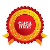 Clique aqui ícone de sinal. Pressione o botão. — Fotografia Stock