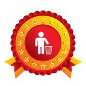After use to throw in trash. Recycle bin sign. — Stock Photo
