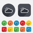 Stock Vector: Cloud and sun sign icon. Weather symbol.