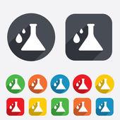 Icono de señal química. símbolo del bulbo con gotas. — Vector de stock