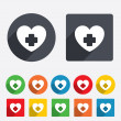Medical heart sign icon. Cross symbol. — Stock Vector