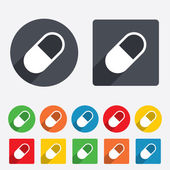 Medical pill sign icon. Drugs symbol. — Stock Vector