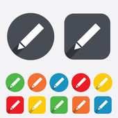 Pencil sign icon. Edit content button. — Stock Vector