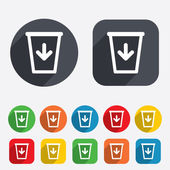 Send to the trash icon. Recycle bin sign. — Stock Vector
