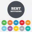 Stock Vector: Best boyfriend sign icon. Award symbol.