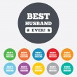 Stock Vector: Best husband ever sign icon. Award symbol.