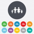 Complete family with two children sign icon. — Stock Vector #40966859