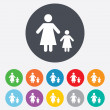 One-parent family with one child sign icon. — Stock Vector