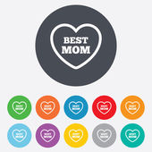 Best mom sign icon. Heart love symbol. — Stock Vector