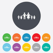 Complete large family with many children sign. — Stock Vector