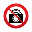 No Photo camera sign icon. Photo flash symbol. — Stock Photo