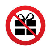 No Gift box sign icon. Present symbol. — Stock Photo