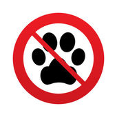 No Dog paw sign icon. Pets symbol. — Stock Photo