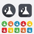 Chemistry sign icon. Bulb symbol with drops. — Stock Photo #40998807