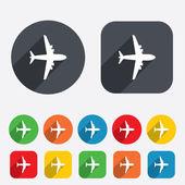 Airplane sign. Plane symbol. Travel icon. — Stock Photo