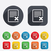 Delete file sign icon. Remove document symbol. — Stock Photo