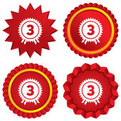 Third place award sign icon. Prize for winner. — Stock Photo