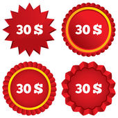 30 Dollars sign icon. USD currency symbol. — Stock Photo