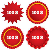 100 Dollars sign icon. USD currency symbol. — Stock Photo