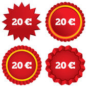 20 Euro sign icon. EUR currency symbol. — Stock Photo