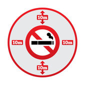 No smoking 10m distance sign. Stop smoking. — Stock Photo