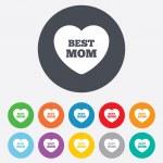 Best mom sign icon. Heart love symbol. — Stock Photo #41432261